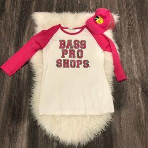 Bass Pro Shops Quarter Sleeve Pink/Camo Shirt